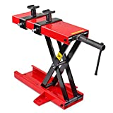 Flexzion Motorcycle Lift, Bike Stand Center Jack, Scissor Jack Low Profile Floor Scooter Lift Heavy Duty 1100 lbs Hoist with Saddle for, Harley, Honda, Dirt Bike, Cruisers, Mini Bike, Lift Table