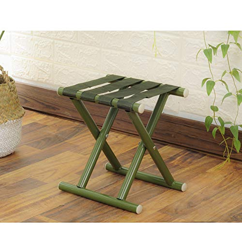 QTQHOME Portable Camping Stool Lightweight Folding Stool,outdoor Folding Chair Traveling Foot Stool Nylon Webbing Seat Suitable For child adult Old People-green 25x21x26cm(10x8x10)
