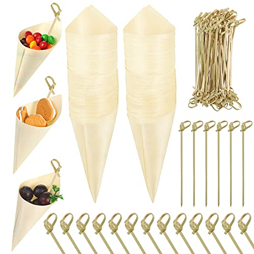 100 Pieces Food Cones Wood Tasting Cones with 100 Pieces Bamboo Cocktail Picks, Disposable Wood Cones Appetizer Finger Foods Ice Cream Holder for Food and Home Parties Catered Events Buffets