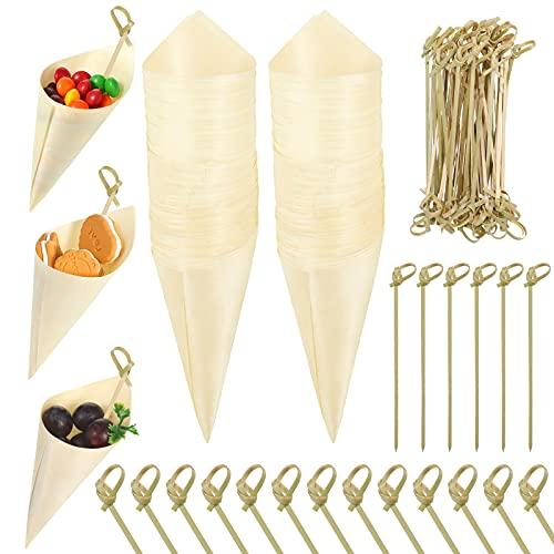 100 Conos de Comida Conos de Degustación de Madera con 100 Palillos de Cócteles de Bambú, Cono de Madera Desechable Soporte de Helados Aperitivos Comida para Picar para Fiesta de Hogar