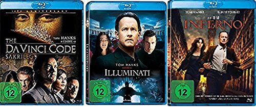 3 Blu-Rays - Dan Brown Set: Illuminati + The Da Vinci Code - Sakrileg + Inferno im Set - Deutsche Originalware [3 Blu-rays]