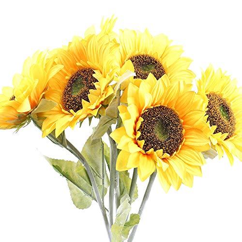 XHXSTORE 6pcs Künstliche Sonnenblumen Kunstblumen Unechte Blumen Sonnenblume Plastik Blumen Tischdeko Plastikblumen für Draußen Innen Balkon Topf Garten Blumenkaste