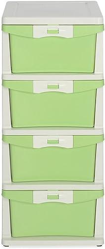 Nilkamal CHTR24 Four Layers Plastic Cabinet Green, 4 Drawer