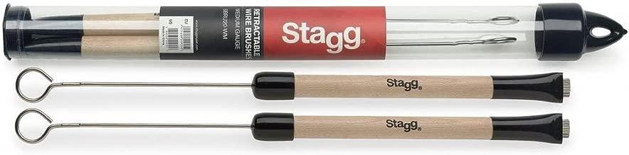 Stagg - Escobillas telescópicas para batería (mango de madera)