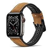 Bisikor para Correa Apple Watch 42mm 44mm Cuero y Silicona Híbrido Correa de Repuesto Compatible con Apple Watch Series 6/5/4/SE (44mm) Serie 3/2/1 (42mm) - Marrón