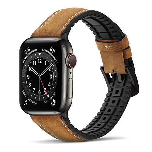 Bisikor para Correa Apple Watch 38mm 40mm Cuero y Silicona Híbrido Correa de Repuesto Compatible con Apple Watch Series 6/5/4/SE (40mm) Serie 3/2/1 (38mm) - Marrón