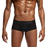 Fanteecy Men Solid Ultra-Thin Boxer Briefs Sexy Breathable Bulge Pouch Underwear Trunks Cozy Stretchy Underpants (Black, XL)