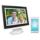 PhotoSpring (16GB) 10-inch WiFi Cloud Digital Picture Frame - Battery, Touch-Screen, Plays Video and Photo Slideshows, HD IPS Display, iPhone & Android app (White/Black Mat - 15,000 Photos)