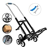 Weanas Stair Climbing Cart, 330LBS Capacity Portable Folding Stair Climbing Hand Truck for Upstairs Cargo Transportation, with Rubber Three-Wheels and Bungee Cord (Black)