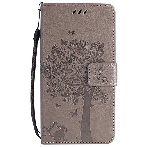 HopMore Kompatibel für Wiko Lenny 4 Hülle Leder mit Kartenfach Magnetisch Klappbar [Baum und Katze] Muster Silikon Bumper Ledertasche Schutzhülle Handyhülle Tasche Cover Case - Grau