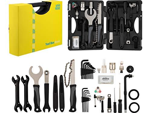 3min19sec Fahrrad Werkzeug Set - 38 teiliger Fahrrad Werkzeugkoffer - Reparatur Set mit Fast allem Notwendigen für Arbeiten am Mountainbike, Rennrad oder Trekking und City Bike