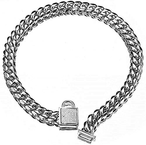 Aiyidi Pet Dog Collar, Top Stainless Steel Dog Chain Training Collar, 14mm Silver Tone Cuban Curb Chain Dog Collar, with White Zirconia Lock Dog Necklace 10-26 Inches (14mm, 18inches)