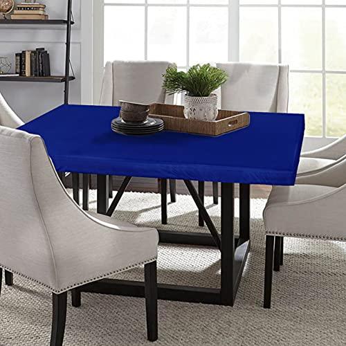 LUSHVIDA Square Waterproof Table Cover Elastic Tablecloth Vinyl Fitted Table Cover Elastic Edged Plastic Table Cover Fits Tables up to 46' 46' Blue