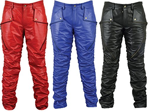 Motorrad Lederhose Herren Damen Bikerjeans - Fuente Lederjeans Motorrad Lederhose Biker aus echtem Leder Aniline Schwarz Rot Blau, Größentabelle im Bild (52, Blau)
