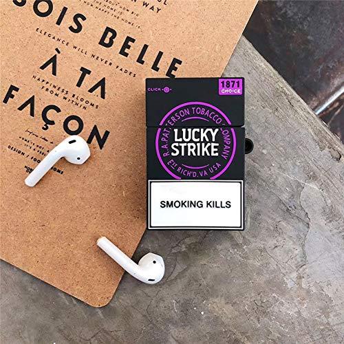 ETbotu Kopfhörer Hülle Zigaretten Style Airpods Silikon Soft Shell Schutzhülle Dickes Lila + Haken Airpods1 / 2 Airpods1 / 2, Dickes Lila + Haken