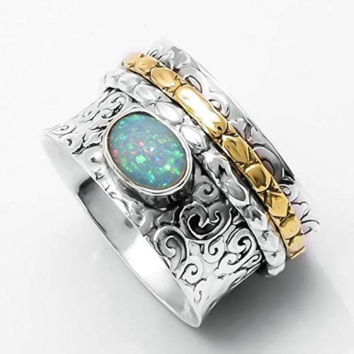 Äthiopischer Opal Ring, 925 Sterling Silber Spinner Ring, Designer Band Ring, Statement Ring