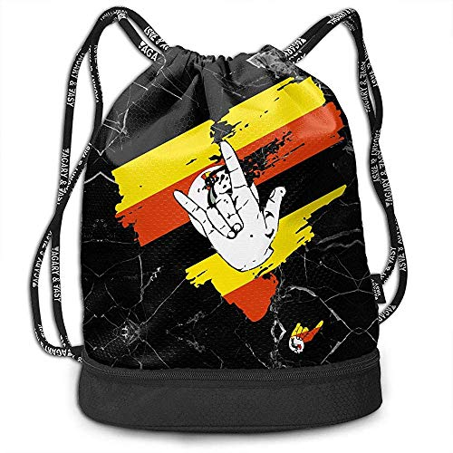 jenny-shop I Love You Uganda Heart Drawstring Bag Mochila de