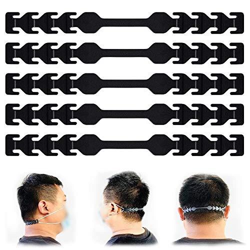 Mask Hook 5 PCS Black TOOVREN Mask Extender Hook for Reducing Ear Pain, Anti-Slip Mask Strap Extender, Mask Extension Buckle Mask Hook Ear Cord Adjustment for Doctor Adult Children (shipped from USA)