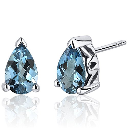 London Blue Topaz Pear Shape Stud Earrings Sterling Silver