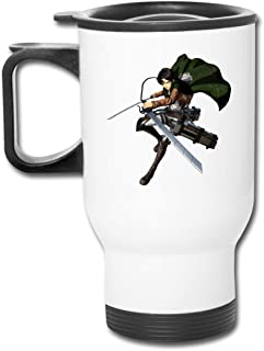 DUANIER Vacuum Insulated Stainless Steel Thermos Flask Attack On Titan Rival Ackerman Fashion Frosted Auto Mug For Hot/Cold Drink Coffee Or Tea White