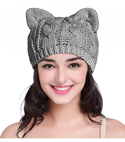 V28 Women Men Girls Boys Teens Cute Cat Ear Knit Cable Rib Hat Cap Beanie Kittenear Darkgrey Medium