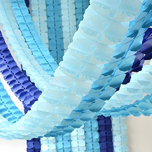 Party Decoration Kit 6pcs Hanging Garland Four-Leaf Tissue Paper Flower Garland Reusable Party Streamers for Baby Shower Wedding Nursery Bridal Shower (10 Feet/3M Long Each) (Blue)