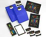 JuNa-Experten 6 Einladungskarten Kindergeburtstag Jump Trampolin Mädchen Junge incl. 6 Umschläge, 6 Tüten / dunkelblau, 6 Aufkleber, 6 Lesezeichen, 6 Blöcke