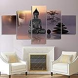 CHUADIAD Peinture sur Toile Moderne HD imprimé Photos 5 Panneau Zen Bouddha Statue pour Salon Mur Art décoration de la Maison Affiche-sans Cadre