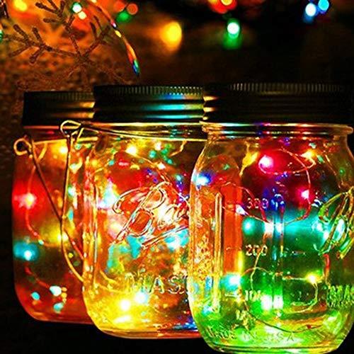 LPing 1 Paquete de Luces solares para Tarro de albail,10 Luces LED para Tarro de albail,Luces de Hadas Impermeables para Vacaciones/Patio/Fiesta/Boda/Navidad Decorativas,Amarillo
