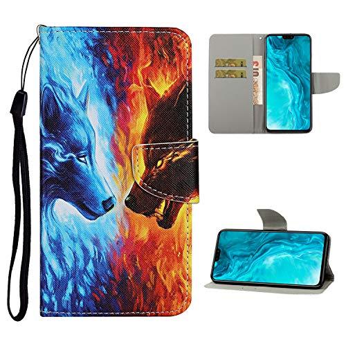 Nadoli Brieftasche Etui für Xiaomi Redmi Note 9,Flamme Wolf Muster Bunt Pu Leder Lanyard Standfunktion Magnetisch Handyhülle Schutzhülle Lederhülle mit Kartenfach