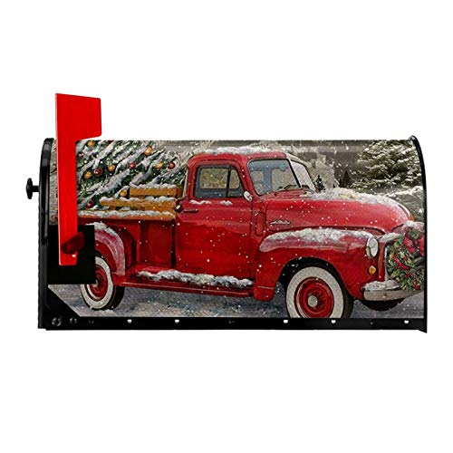 Shirt Luv Mailbox Covers Magnetic for Home Outdoor Welcome Garden Yard Decor, Christmas Red Truck Xmas,Winter Holiday Vintage Seasonal Letter Post Box Cover Wraps Standard Size 25.5x21 in