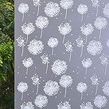 VSUDO 17.7' x 78.7' No Glue Static Cling Privacy Window Film, Dandelion Flower Pattern Home Decor Window Tint Sticker (9.69 sq. ft)