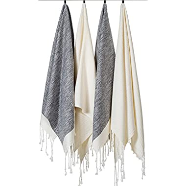 BEST PRICE (Set of 4) Unique Hand Face Towel Set 100% Turkish Cotton 20 x31  Pestemal Peshtemal Fouta Towel Kitchen Bath Spa Pool Massage Sauna Beach Yacht Gym Fitness Yoga Picnic Beach Travel Light Baby Unisex Towel - 2 Black,2 White