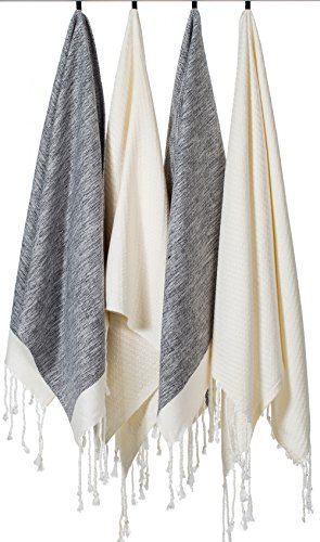 [SET OF 4] Unique Turkish Cotton Peshtemals & Towels - Size (20 x 31) Travel, Bath, Spa, Sauna, Beach, Gym, Pool, Beach, Yoga, Hand, Face - Super Soft Quick Dry and Highly Absorbent, 2 Black 2 White