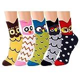 QH-shop Calcetines de Mujer Coloreados Algodón Calcetines Patrón de Búho Adulto Unisex Calcetines Térmicos 5 Pairs