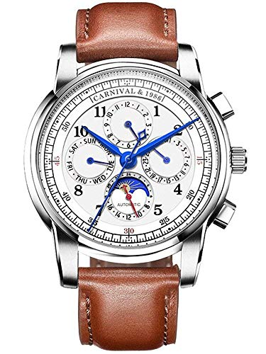 Men's Automatic Mechanical Watch Date Moon Phase 24-Hour Indication Calfskin...