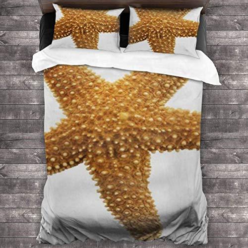 SFWER Simple y Elegante, cómodo Juego de Cama de 3 Piezas 86 '' x70 Naranja Seastar Starfish...