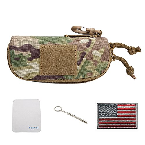 Tactical Molle Zipper 1000D Nylon Sunglasses Case Eyeglasses Hard Case Outdoor Portable Travel Carry Glasses Case (Black)