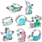 Set de cortadores de galletas Under The See, 8 piezas de acero inoxidable para galletas con concha, cola de sirena, estrella de mar, pulpo, caballito de mar, tortuga, ballena y placa para hornear