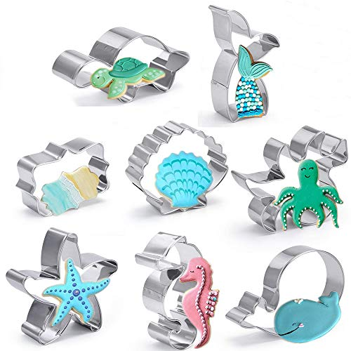 Under The Sea Cookie Cutters Set,8 Pieces Stainless Steel Biscuit Cutters Molds,Seashell,Mermaid Tail,Starfish,Octopus,Seahorse,Turtle,Whale and Plaque- Great For DIY Baking