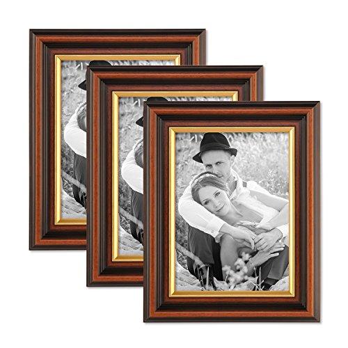 PHOTOLINI 3er Set Bilderrahmen 13x18 cm Antik Dunkelbraun mit Goldkante Massivholz mit Glasscheibe inkl. Zubehör