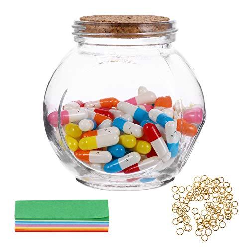 GARNECK 1 juego de cápsulas de letras con mensaje en una botella de cristal, mini cápsula de medio color, pila, botellas de cristal que desean botellas decorativas con cara sonriente para