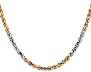 14K Gold 3MM, 4MM, or 5MM Diamond Cut Rope Chain Necklace - Sizes 16
