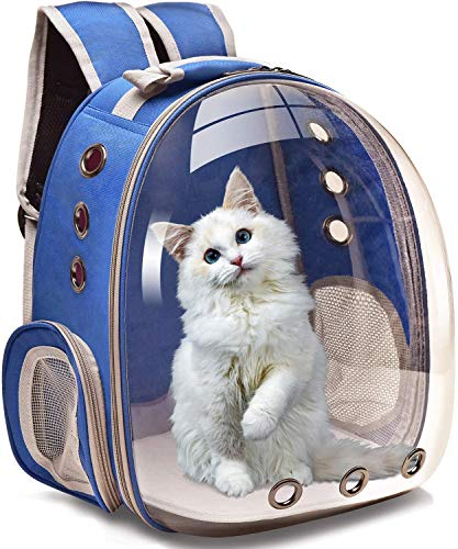 Cat Carrier Backpack, Pet Dog Carrier Back Pack Front Packs for Small Medium Cat Puppy Doggie, Dog Body Carrying Bags Travel Space Capsule with Big Window & Adjustable Strap for Walking (Blue)