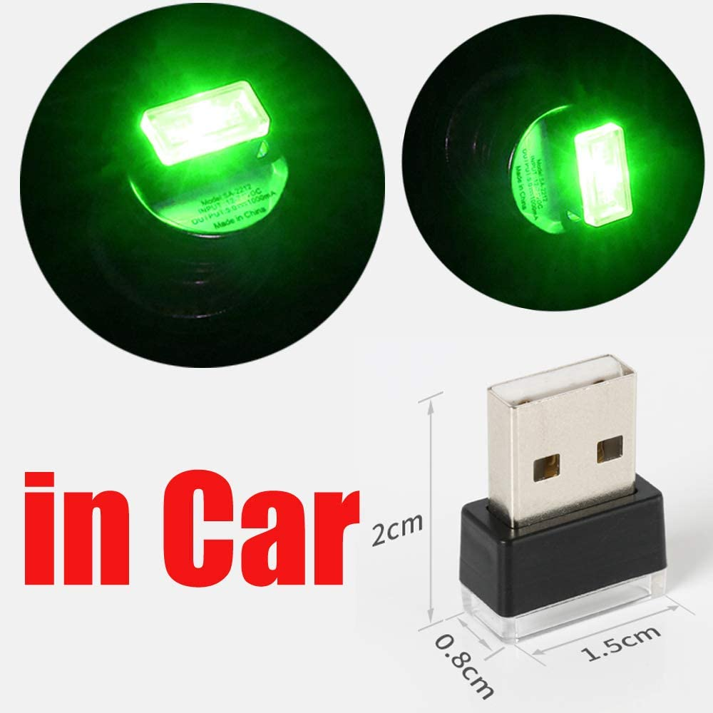 CHIYOU Car Mini USB LED Car Interior Ambient Lighting Decoration Night Light with USB Charging for All Cars Vehicle SUV Truck Automotive Decorative Led Lamp (Green 2pcs)