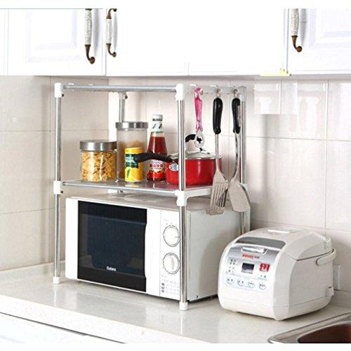 """Estante del estante del horno de microondas del almacenamiento del acero inoxidable de Xiton 12 """"D x 35.4"""" W x 24.2 """"H"""