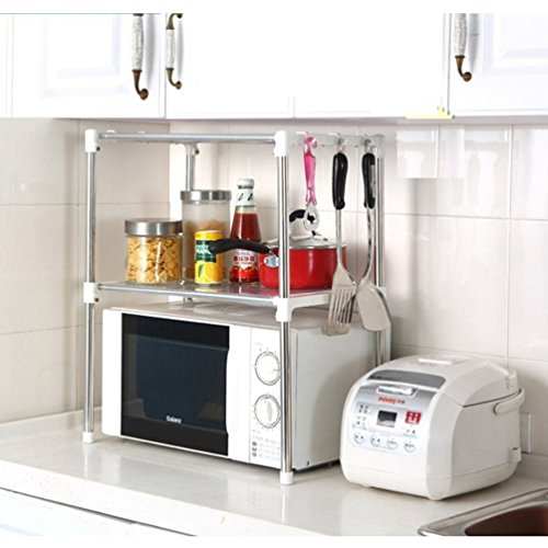 Xiton - Scaffale da cucina in acciaio INOX per forno a microonde con mensola, profondità 30,5cm x larghezza 89,9cm x altezza 61,5cm