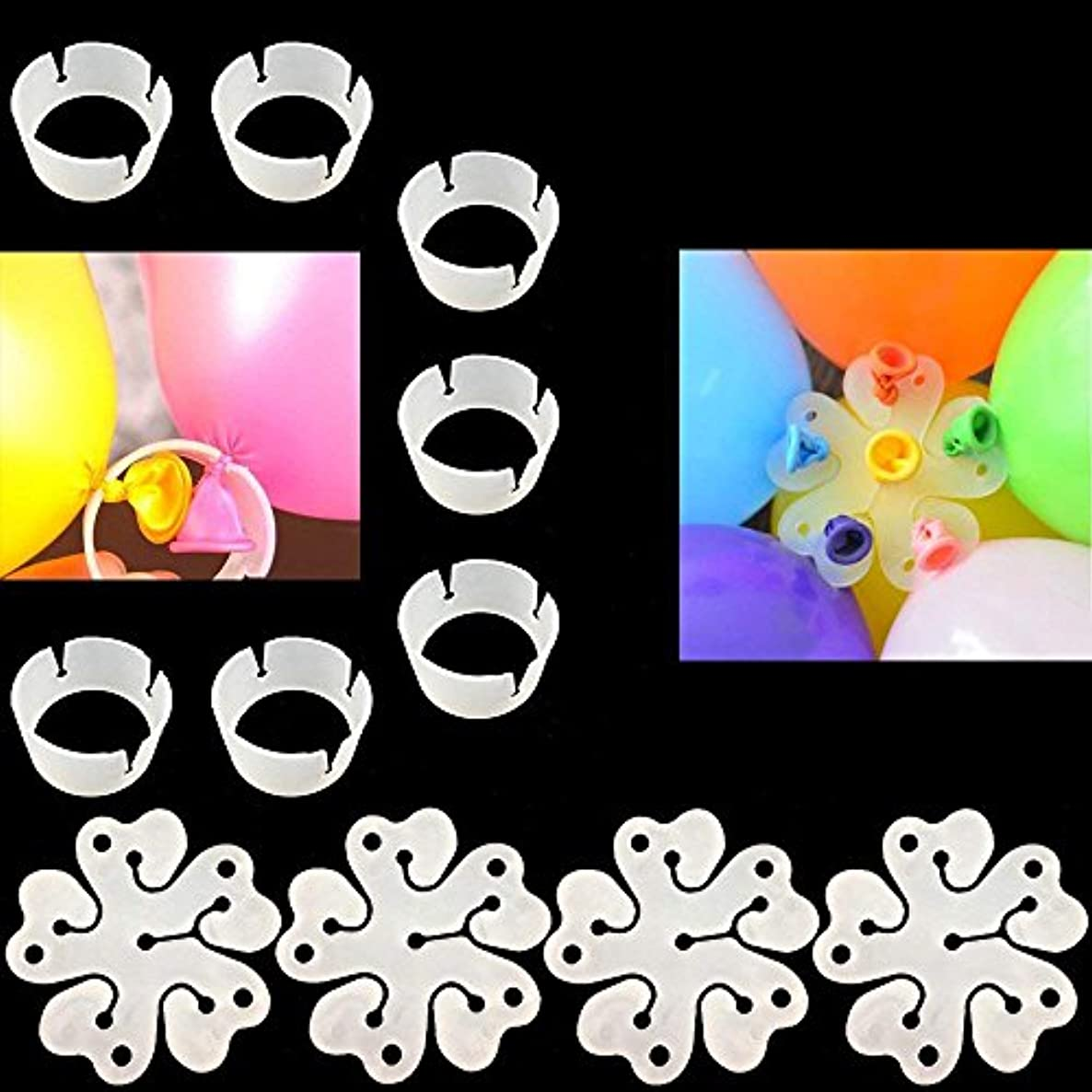 CSPRING 100PCS Decor Clear Balloon Arch Clips and Flower Shaped Balloon Clips for Wedding Party