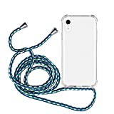 MyGadget Funda Transparente con Cordón para Apple iPhone XR - Carcasa Cuerda y Esquinas Reforzadas en Silicona TPU - Case y Correa - Azul Camuflaje
