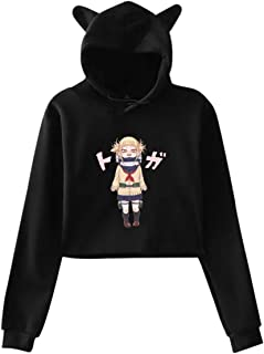 Opfans Crop Top Hoodie with My Hero Academia Himiko Toga Anime Sweater Pullover for Girls Boku No Hero Academia